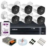 Kit 6 Câmeras VHD 3120 B G6 + DVR Intelbras + HD 1TB para Armazenamento + App Grátis de Monitoramento, Câmeras HD 720p 20m Infravermelho de Visão Noturna Intelbras + Fonte, Cabos e Acessórios