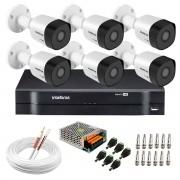 Kit 6 Câmeras VHD 3130 B G6 + DVR Intelbras + App Grátis de Monitoramento, Câmeras HD 720p 30m Infravermelho de Visão Noturna Intelbras + Fonte, Cabos e Acessórios
