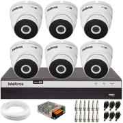 Kit 6 Câmeras VHD 3220 Full HD 1080p + DVR Intelbras MHDX 3108 + App Grátis de Monitoramento, 20m Infravermelho de Visão Noturna + Fonte, Cabos e Acessórios