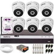 Kit 6 Câmeras VHD 3220 Full HD 1080p + DVR Intelbras MHDX 3108 + HD 1 TB + App Grátis de Monitoramento, 20m Infravermelho de Visão Noturna + Fonte, Cabos e Acessórios