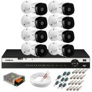 Kit 8 Câmeras 2K VHD 1420B + DVR Intelbras + App Grátis de Monitoramento, Câmeras 20m Infravermelho de Visão Noturna + Fonte, Cabos e Acessórios