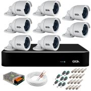 Kit 8 Câmeras  5MP + DVR Giga +  App de Monitoramento, Câmeras 30m Infravermelho de Visão Noturna Giga Security GS0047 Completo com Acessórios