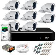 Kit 8 Câmeras 5MP + DVR Giga +  HD 1TB + App de  Monitoramento, Câmeras 30m Infravermelho de Visão Noturna Giga Security GS0047 Completo com Acessórios