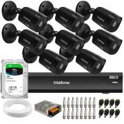 Kit 8 Câmeras Black Intelbras VHD 1220 B G6 Full HD 1080p + DVR Intelbras iMHDX 3008 + HD 1TB