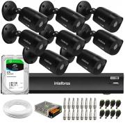 Kit 8 Câmeras Black Intelbras VHD 1220 B G6 Full HD 1080p + DVR Intelbras iMHDX 3008 + HD 2TB