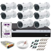 Kit 8 Câmeras de Segurança 4MP 2k Intelbras VHD 3430 B + DVR Intelbras 4K + HD WD Purple + Acessórios