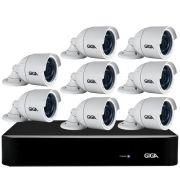 Kit 8 Câmeras Full HD + DVR Giga Security + App Grátis de Monitoramento, Câmeras GS0273 1080p 30m Infravermelho de Visão Noturna + Fonte, Cabos e Acessórios