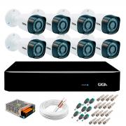 Kit 8 Câmeras de Segurança Full HD 1080p Giga Security gs0271  + DVR Giga Security 2MP + Acessórios