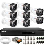 Kit 8 Câmeras de Segurança Full HD 1080p Lite 20 Metros Infravermelho + DVR Hikvision + HD + Cabos e Acessórios