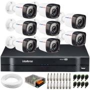 Kit 8 Câmeras de Segurança Full HD 1080p Lite 20 Metros Infravermelho + DVR Intelbras + HD + Cabos e Acessórios