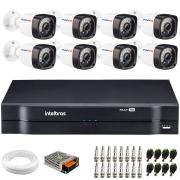 Kit 8 Câmeras de Segurança Full HD 1080p Lite 20 Metros Infravermelho + DVR Intelbras + Cabos e Acessórios