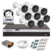 Kit 8 Câmeras de Segurança Full HD 1080p VHD 3230 B G5 + DVR Intelbras MHDX 3108 Full HD de 08 Canais + 1 HD Interno WD Purple 2TB Surveillance SATA III + Acessórios