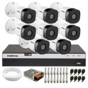Kit 8 Câmeras de Segurança Full HD Intelbras VHD 1220 B G6 + DVR Intelbras Full HD MHDX 3108 + Acessórios