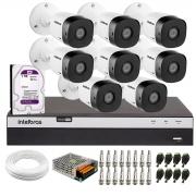 Kit 8 Câmeras de Segurança Full HD Intelbras VHD 1220 B G6 + DVR Intelbras Full HD MHDX 3108 + HD 1TB + Acessórios