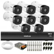 Kit 8 Câmeras de Segurança Full HD Intelbras VHD 1220 B G6 + Gravador iMHDX 3008 8 Canais + Acessórios
