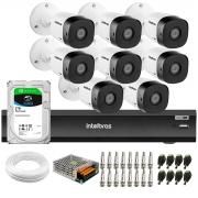 Kit 8 Câmeras de Segurança Full HD Intelbras VHD 1220 B G6 + Gravador iMHDX 3008 8 Canais + HD 2TB