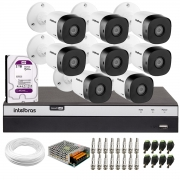 Kit 8 Câmeras de Segurança Full HD Intelbras VHD 1220 B G6 + DVR Intelbras Full HD MHDX 3108 + HD 2TB + Acessórios