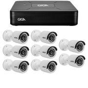 Kit 8 Câmeras de Segurança HD 720p Giga Security GS0013  + DVR Giga Security Multi HD + Acessórios