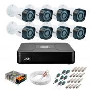Kit 8 Câmeras de Segurança HD 720p Giga Security GS0018  + DVR Giga Security Multi HD + Acessórios