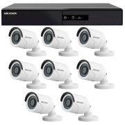 Kit 8 câmeras de segurança hd 720p hikvision 20 metros + dvr hikvision + acessórios