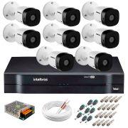 Kit 8 Câmeras VHD 1120 B G5 + DVR Intelbras + App Grátis de Monitoramento, Câmeras HD 720p 20m Infravermelho de Visão Noturna Intelbras + Fonte, Cabos e Acessórios