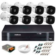Kit 8 Câmeras VHD 3120 B G5 + DVR Intelbras + App Grátis de Monitoramento, Câmeras HD 720p 20m Infravermelho de Visão Noturna Intelbras + Fonte, Cabos e Acessórios