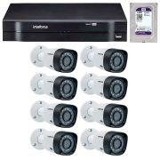 Kit 8 Câmeras de Segurança HD 720p Intelbras VHD 3130B G4 + DVR Intelbras Multi HD + HD para Gravação + Acessórios