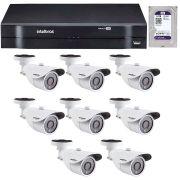 Kit 8 Câmeras de Segurança HD 720p Intelbras VM 3120 IR G4 + DVR Intelbras Multi HD + HD para Gravação + Acessórios