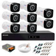 Kit 8 Câmeras + DVR Hikvision + App de Monitoramento, Câmeras Full HD 1080 Lite 25m Infravermelho de Visão Noturna Tudo Forte Completo com Acessórios