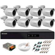 Kit 8 Câmeras + DVR Hikvision + Fonte, Cabos e Acessórios - Câmeras Hilook THC B120C-P Full HD 1080 Lite 20m Infra e Visão Noturna