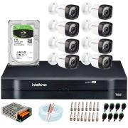 Kit 08 Câmeras HD 720p 20m Infravermelho de Visão Noturna + DVR Intelbras + HD 1 TB + App Grátis de Monitoramento + Fonte, Cabos e Acessórios