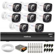 Kit 8 Câmeras Full HD 1080p 20m Infravermelho de Visão Noturna + DVR Intelbras iMHDX 3008 + Acessórios