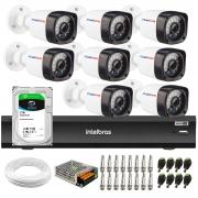 Kit 8 Câmeras Full HD 1080p 20m Infravermelho de Visão Noturna + DVR Intelbras iMHDX 3008 + HD 1TB