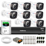 Kit 8 Câmeras Full HD 1080p 20m Infravermelho de Visão Noturna + DVR Intelbras iMHDX 3008 + HD 2TB