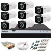 Kit 8 Câmeras + DVR Intelbras + App Grátis de Monitoramento, Câmeras Full HD 1080p 20m Infravermelho de Visão Noturna + Fonte, Cabos e Acessórios