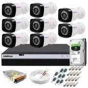 Kit 8 Câmeras + DVR Intelbras + HD 1 TB + App de Monitoramento, Câmeras Full HD 1080p 20m Infravermelho de Visão Noturna + Fonte, Cabos e Acessórios