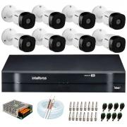 Kit 8 Câmeras HD 720p 10m Infravermelho de Visão Noturna VHD 1010 B G6 + DVR Intelbras + App Grátis de Monitoramento