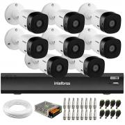 Kit 8 Câmeras Intelbras Bullet VHD 1420 B G6 4MP 2K Quad HD, Visão Noturna 20 metros Gravador de Vídeo Digital  Com Inteligência Artificial iMHDX 3008 8 Canais + Acessórios