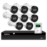 Kit 8 Câmeras Intelbras HD 720p VIP 1130 B 3,6mm Bullet IP67 + NVR Intelbras Digital Video 8 Canais Recorder NVD 1408 4K + HD 1TB