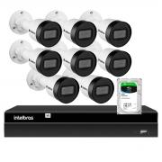Kit 8 Câmeras Intelbras HD 720p VIP 1130 B 3,6mm Bullet IP67 + NVR Intelbras Digital Video 8 Canais Recorder NVD 1408 4K + HD 2TB