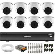Kit 8 Câmeras Intelbras VHD 1220 D G6 20m, Full HD 1080p Lente 2,8 mm + Gravador iMHDX 3008 8 Canais + Acessórios