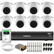 Kit 8 Câmeras Intelbras VHD 1220 D G6 20m, Full HD 1080p Lente 2,8 mm + Gravador iMHDX 3008 8 Canais + HD 1TB