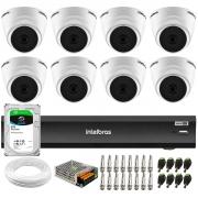 Kit 8 Câmeras Intelbras VHD 1220 D G6 20m, Full HD 1080p Lente 2,8 mm + Gravador iMHDX 3008 8 Canais + HD 2TB