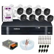 Kit 8 Câmeras Intelbras VHD 3230 B G6 Full HD 1080 Lite + DVR Intelbras + Acessórios Completo - Câmeras com 30m Infravermelho de Visão Noturna