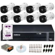 Kit 8 Câmeras Intelbras VHL 1220 B Full HD 1080 Lite + DVR Intelbras + Acessórios Completo - Câmeras com 20m Infravermelho de Visão Noturna