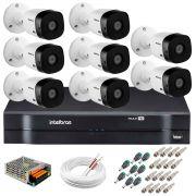 Kit 8 Câmeras Intelbras VHL 1220 B Full HD 1080 Lite + DVR Intelbras - Câmeras com 20m Infravermelho de Visão Noturna + Fonte, Cabos e Acessórios