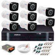 Kit 8 Câmeras Tudo Forte Full HD 1080 Lite + DVR Intelbras + Acessórios Completo - Câmeras com 25m Infravermelho de Visão Noturna