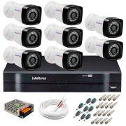 Kit 8 Câmeras Tudo Forte Full HD 1080 Lite + DVR Intelbras - Câmeras com 25m Infravermelho de Visão Noturna + Fonte, Cabos e Acessórios