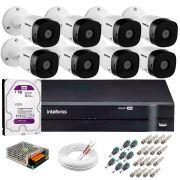 Kit 8 Câmeras VHD 1010 B G5 + DVR Intelbras + HD 1TB para Armazenamento + App Grátis de Monitoramento, Câmeras HD 720p 10m Infravermelho de Visão Noturna Intelbras + Fonte, Cabos e Acessórios