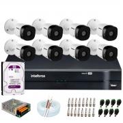 Kit 8 Câmeras VHD 1010 B G6 + DVR Intelbras + HD 1TB para Armazenamento + App Grátis de Monitoramento, Câmeras HD 720p 10m Infravermelho de Visão Noturna Intelbras + Fonte, Cabos e Acessórios